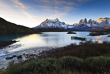 Sunset, Salto Chico, Lago Pehoe, Torres del Paine National Park, Patagonia, Chile, South America