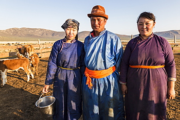 Smiling nomadic people in traditional clothes (deels) in milking pen at daw in summer, Nomad camp, Gurvanbulag, Bulgan, Mongolia, Central Asia, Asia