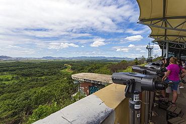 Tourists look at North Korea from the Dora Observatory, Demilitarised Zone (DMZ), North and South Korea border, Asia