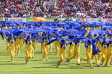 Young people act out Mongolian history, Naadam Stadium, Naadam Festival Opening Ceremony, Ulaan Baatar (Ulan Bator), Mongolia, Central Asia, Asia