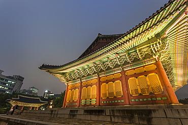 Junghwa-jeon (Throne Hall), Deoksugung Palace, traditional Korean building, illuminated at dusk, Seoul, South Korea, Asia