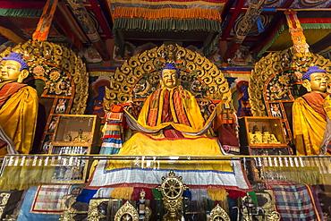 Golden Buddha statues and display items, Baruun Zuu temple, Erdene Zuu Khiid, Monastery, Kharkhorin (Karakorum), Mongolia, Central Asia, Asia