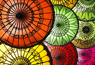 Colourful painted umbrellas, parasols made from paper and bamboo, Nyaung-U, Bagan (Pagan), Myanmar (Burma), Asia