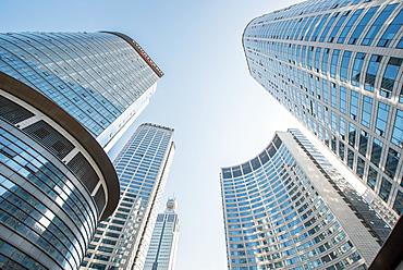 Brand new skyscrapers in Jianggan district of Hangzhou, Zhejiang, China, Asia
