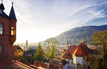 A view over the misty old town of Heidelberg, Baden-Wurttemberg, Germany, Europe