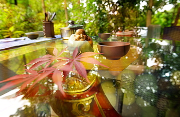 Traditional elements of Chinese culture on a glass table, Hangzhou, Zhejiang, China, Asia