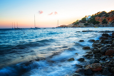 Cala D'Hort just after sunset, Ibiza, Balearic Islands, Spain, Mediterranean, Europe