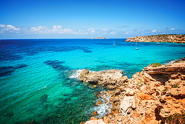 Rocky coast near Cala Vadella, Ibiza, Balearic Islands, Spain, Mediterranean, Europe