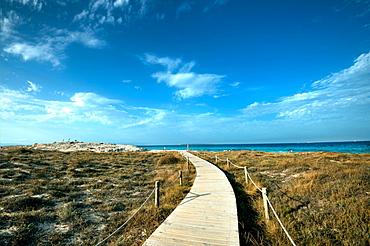Boardwalk leading towards the horizon and Infinity Beach on Formentera, Balearic Islands, Spain, Mediterranean, Europe