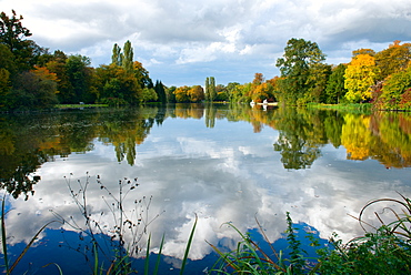 Reflections on lake, Schwetzingen Palace gardens, Schwetzingen, Baden-Wurttemberg, Germany, Europe