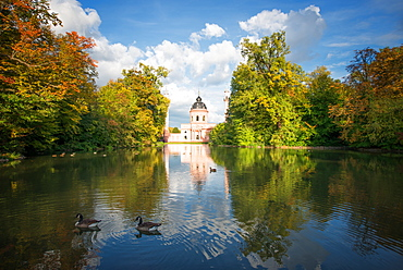 Red Mosque and reflections in autumn, Schwetzingen, Baden-Wurttemberg, Germany, Europe