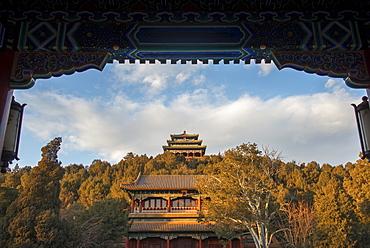 Pagodas and Jingshan Hill, Beijing, China, Asia - 1171-245