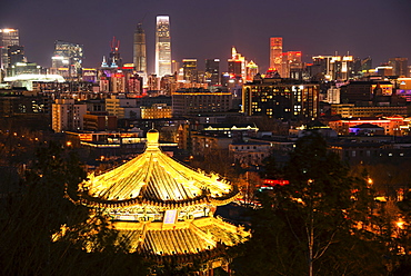 Illuminated pagoda and Beijing cityscape at night, Beijing, China, Asia - 1171-246