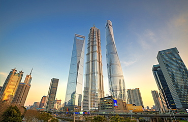 Skyscrapers of Lujiazui, Shanghai World Financial Center, Jin Mao Tower and Shanghai Tower, Shanghai, China, Asia