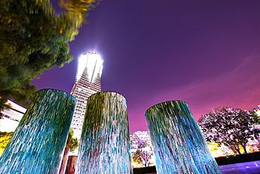 Decorative illuminated architectural design elements at Hangzhou Global Center, Hangzhou, Zhejiang, China, Asia - 1171-265