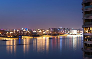 Beautifully illuminated high rises on Qiantang River in Hangzhou, Zhejiang province, China, Asia - 1171-266