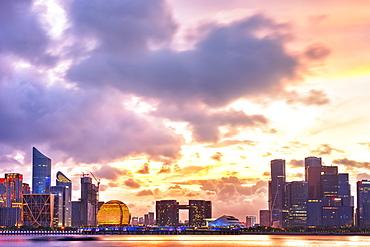 Dramatic sunset clouds over new skyscrapers of Hangzhou new business district, Jianggan (Qianjiang New Town), Hangzhou, Zhejiang, China, Asia - 1171-273