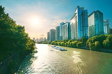 The Grand Canal in Hangzhou, an ancient shipping route and direct connection between Beijing and Hangzhou, Hangzhou, China, Asia - 1171-274