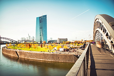 New architecture in the Frankfurt Ostend district including the EZB Building, Frankfurt, Hesse, Germany, Europe - 1171-278