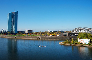 New architecture in the Frankfurt Ostend district including the EZB Building, Frankfurt, Hesse, Germany, Europe - 1171-281