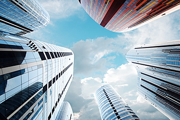 Looking up in futuristic Sanlitun SOHO, Beijing, China, Asia - 1171-282