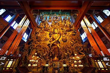 GuanYin Buddha with many smaller Buddhas at Yong Fu Temple, Hangzhou, Zhejiang, China, Asia