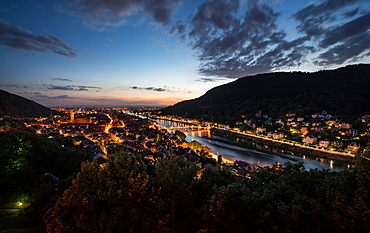 Heidelberg's Old Town with Neckar River, Alte Brucke and Heiligenberg, Heidelberg, Baden-Wurttemberg, Germany, Europe
