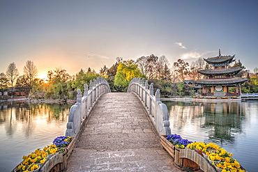 Suocui Bridge with Moon Embracing Pagoda at Heilongtan (Black Dragon Pool) in Lijiang, Yunnan, China, Asia