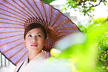 Japanese Woman in Kimono with Bangasa Parasol