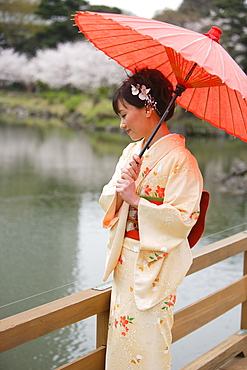 Woman Standing on Wooden Bridge Holding Parasol