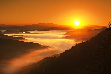 Sunrise behind Mountains and Sea of Clouds, Nara Prefecture, Japan