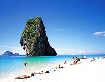 Blue sky over the beach on phranang, Krabi, Thailand