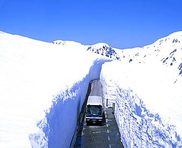 Road through snow, Toyama, Japan