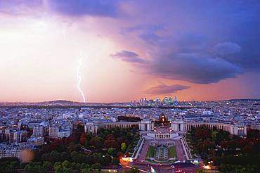 Lightning and the Palais de Chaillot from the Eiffel Tower, Paris, France