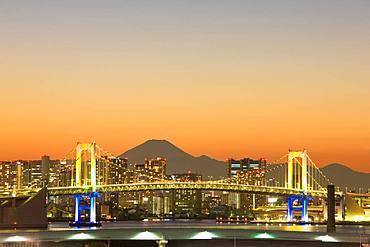 Mt. Fuji And Rainbow Bridge, Tokyo, Japan