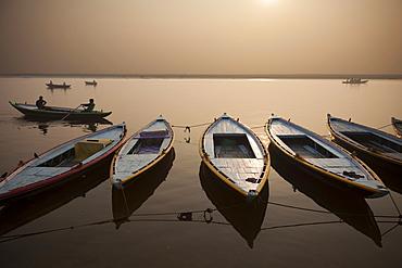 The sacred Ganges River at dawn, in Varanasi, India, Varanasi, India