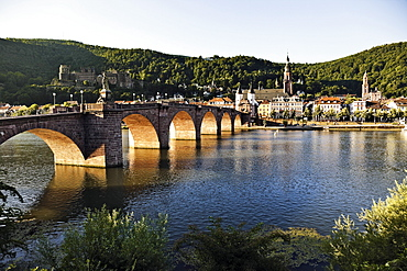 View of Karl-Theodor Bridge and Neckarstadt in Heidelberg, Germany