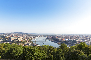 A view from Gellért Hill of the Danube with the Chain Bridge, Budapest, Hungary