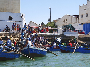 Rowing boats of tourists at Larache, Morocco