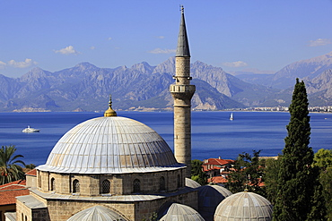 View of Tekeli Mehmet Pasa Mosque and sea in Antalya, Turkey