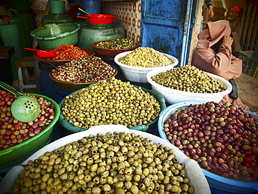 Local olives for sale in the main street in the Medina of Essaouira, Morocco