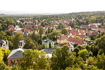 A view from the water tower in Klotzsche over the garden city of Hellerau