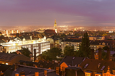 """A view of Dresden from the Martin Luther church in Ã""""usserer Neustadt in the evening"""