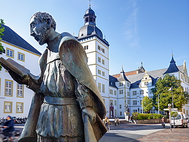 The sculpture of the human rights activist Friedrich von Spee in front of the Jesuit College