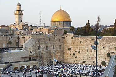Jews praying at the Feast of Tabernacles in front of the Wailing Wall, Jerusalem, Israel