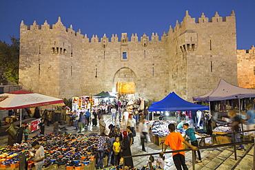 Souk outside the Damascus Gate during the Sacrifice Festival, Muslim quarter, Jerusalem, Israel