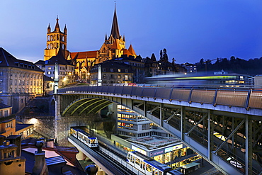 Notre Dame cathedral and the metro in Lausanne, Lake Geneva, Switzerland