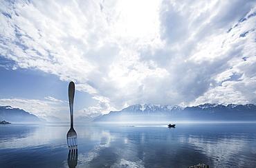 A giant fork on the bank at Vevey, Lake Geneva, Switzerland