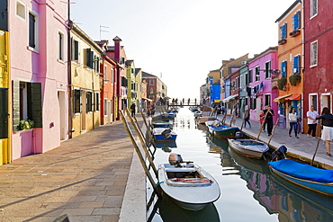 Colourful houses on the San Mauro river on the island of Burano near Venice, Italy