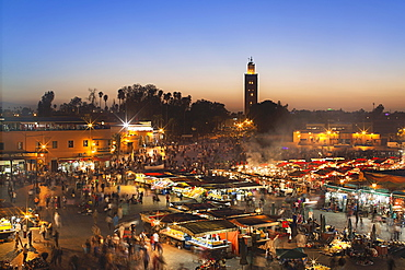 The Jamaa el Fna market place, World Heritage site, in the evening, Marrakesh, Morocco